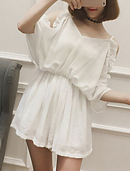 Women's Solid White / Brown Jumpsuits,Street chic Strap Short Sleeve