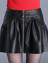 Damen Röcke - Einfach / Niedlich Übers Knie PU Mikro-elastisch