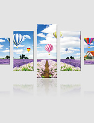 JAMMORY Canvas Set Landscape ,Five Panels Gallery Wrapped, Ready To Hang Vertical Print No Frame Lavender