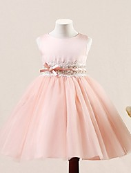 A-line Short / Mini Flower Girl Dress - Tulle Sleeveless Jewel with Buttons / Sequins