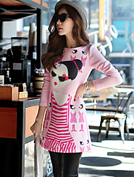 Women's Going out / Casual/Daily / Holiday Cute / Street chic / Sophisticated A Line Dress,Solid / Print Round Neck