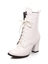 Women's Boots  Fashion Boots Leatherette Outdoor / Office & Career / Casual Chunky Heel OthersBlack / White /