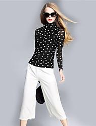 BOMOVO® Femme Col Ras du Cou Manche Longues T-shirt Noir-B16QA96