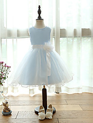 A-line Knee-length Flower Girl Dress - Organza / Satin Sleeveless Jewel with Bow(s) / Flower(s)