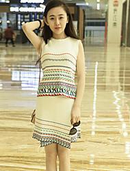 Boutique S Women's Holiday Chinoiserie Summer Set Skirt,Paisley Round Neck Sleeveless White Others Medium  Suit
