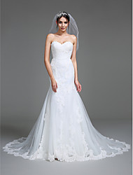 LAN TING BRIDE Trumpet / Mermaid Wedding Dress Lacy Look Court Train Sweetheart Tulle with Appliques
