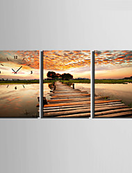 Modern/Zeitgenössisch Anderen Wanduhr,Rechteckig Leinwand35 x 50cm(14inchx20inch)x3pcs/ 40 x 60cm(16inchx24inch)x3pcs/ 50 x