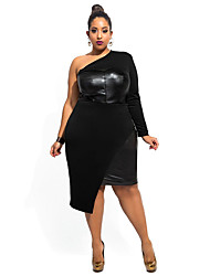 Women's Club Sexy Bodycon Dress,Solid One Shoulder Asymmetrical Long Sleeve Black / Green Polyester / Spandex Summer