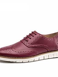 Черный / Синий / Белый / Бордовый Мужская обувь Для прогулок / Для офиса / На каждый день Замша Туфли на шнуровке
