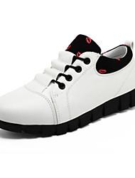 Damen-Flache Schuhe-Lässig-Leder-Flacher Absatz-Komfort-Schwarz Rot Weiß