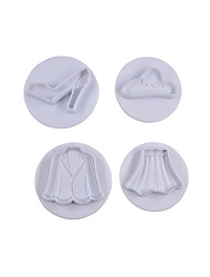 4Pcs Lady Shose and Cloth Set Fondant Craft Mould Sugar Craft Tools