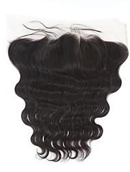 10-20inch Черный Изготовлено вручную Естественные кудри Человеческие волосы закрытие Умеренно-коричневый Швейцарское кружево 60g-150g