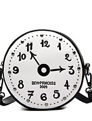 Women PU Casual  Outdoor Shopping Embroider Line Clock Circular Zipper Shoulder Purse Bag