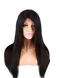 Evawigs 10-28 Inch Indian Virgin Human Hair Silk Straight Natural Black Color Full Lace Wigs with Baby Hair