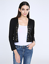 Women's White/Black Blazer,Shirt Collar Puff Sleeve