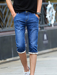 Men's Solid Casual Shorts,Polyester Blue