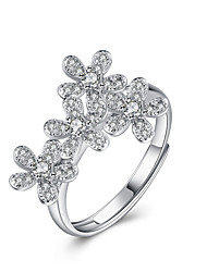 Fine Sterling Silver  Five Petals Diamond Statement Ring for Women Wedding Party