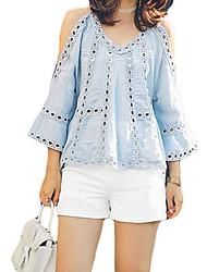 Damen Solide Einfach Ausgehen T-shirt,V-Ausschnitt Frühling / Sommer ¾-Arm Blau Polyester Dünn