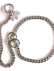 Dog Collar / Slip Lead Adjustable/Retractable / Handmade Silver Stainless Steel