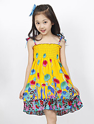 Girl's Holiday Rainbow Dress,Polyester Summer Blue / Gold / Green / Multi-color / Orange / Pink / Red / Yellow