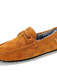 Masculino-Sapatos de Barco-Rasos-Rasteiro-Preto / Azul / Marrom-Couro-Casual