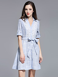 MISS FRENCH  Going out/ Cute Sheath Dress,Striped / Jacquard Shirt Collar Above Knee ½ Length Sleeve