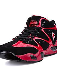 Masculino-Tênis-Conforto-Rasteiro-Azul Preto e Vermelho Preto e Branco-Tecido-Para Esporte