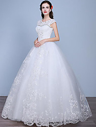 A-line Wedding Dress Floor-length Scoop Lace / Tulle with Beading / Lace
