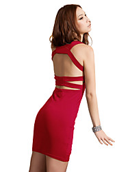JoanneKitten Women's Western Sexy Backless Cross Line Full Dress