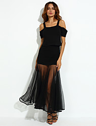 Women's Off The Shoulder/Asymmetrical Club Bodycon Dress,Solid Off Shoulder Above Knee Sleeveless Black Cotton Summer