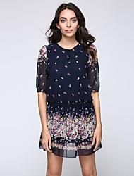 Damen Skater Kleid-Lässig/Alltäglich Übergröße Einfach Blumen Rundhalsausschnitt Mini Polyester Sommer Tiefe Hüfthöhe Unelastisch