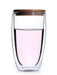 450ml borosilicate soufflé chaleur à double-verre en forme d'oeuf résistant isolation fleur tasse de café tasse avec couvercle de bambou