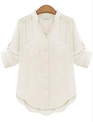 Chemise Aux femmes,Couleur Pleine Décontracté / Quotidien simple Eté ½ Manches Col de Chemise Rose / Blanc Coton Moyen