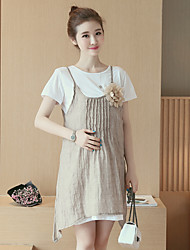 Maternity Casual/Daily Simple Tunic Dress,Solid Round Neck Knee-length Short Sleeve Blue / Beige Cotton Summer