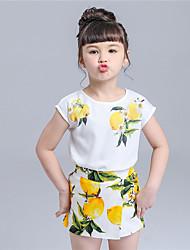 Ensemble de Vêtements Fille de Imprimé Décontracté / Quotidien Coton Eté Blanc
