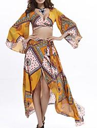 In Colour Women's Deep V Long Sleeve Maxi Dress-11542