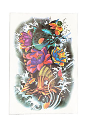 1pc Lotus Fish Flower Arm Waterproof Temporary for Women Men Body Art Tattoo Sticker Paste Paper HB-042