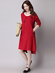 Women's Casual / Ethnic Print Loose Dress,Solid Split Asymmetrical Long Sleeve Red / Yellow Cotton / Linen Spring / Fall