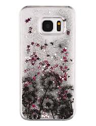 Dandelion Pattern Flowing Quicksand Liquid Glitter Plastic PC For Samsung Galaxy S7 edge Galaxy S7