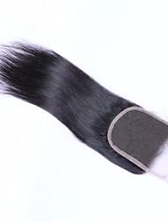 8''-24'' Schwarz per Hand gebunden Gerade Echthaar Schließung Mittelbraun Schweizer Spitze 35-45g Gramm Durchschnittlich Cap Größe