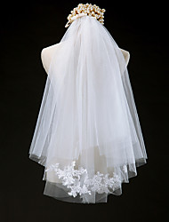 Wedding Veil Two-tier Elbow Veils Cut Edge Tulle Lace Ivory