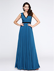 TS Couture Prom Formal Evening Dress - Elegant A-line V-neck Floor-length Chiffon with Criss Cross