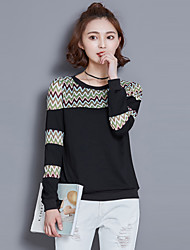 Women's Going out / Casual/Daily Street chic Spring / Fall T-shirt,Patchwork Long Sleeve White / Black /Navy Blue