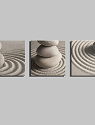 E-HOME® Stretched Canvas Art Stone In The Desert Decoration Painting  Set of 3