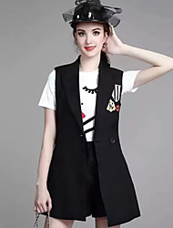 Women's Casual/Daily Simple Spring JacketsEmbroidered Shawl Lapel Sleeveless Black Cotton Medium