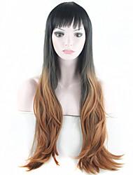 synthétique perruque de cheveux longs ondulés perruque afro ombre perruque américain pour les femmes noires bon marché synthétiques