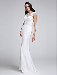 Mermaid / Trumpet Illusion Neckline Floor Length Satin Wedding Dress with Appliques Button by LAN TING BRIDE®