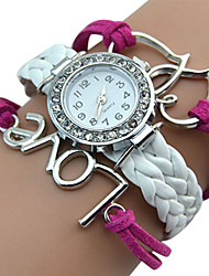 Popular Designed Girl's Faux Leather Love Heart Double Heart Bracelet Watch relogio feminino