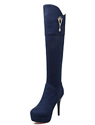 Women's Boots Fall / Winter Fashion Boots / Round Toe Party & Evening / Dress / Casual Stiletto Heel Zipper / Chain
