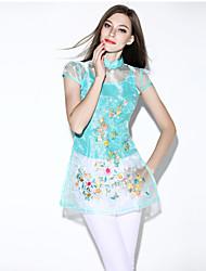 i-yecho Frauendruck blau / schwarzes T-Shirt mit Rundhalsausschnitt kurze Ärmel